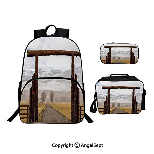 School Backpack With Lunch Bag Pencil Bag One Set,Big Log Gate Lane Montana Cattle Ranch in Winter Countryside Hills Cloudy Sky Brown Grey Blue,Lightweight Laptop Bag For Teen Boys And Girls (Gate Wicker)