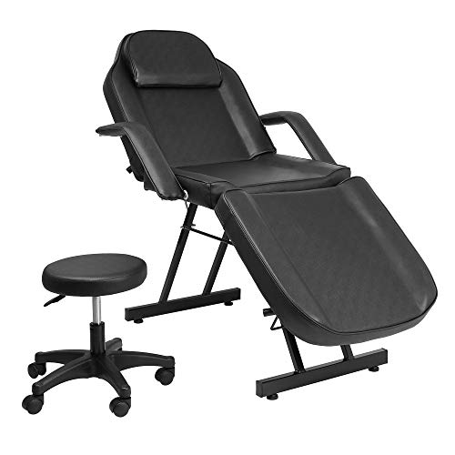Faux Leather Tattoo - Catwalk Message Salon Tattoo Chair Bed with Stool Spa Table Chair Max Weight Capacity 500lbs