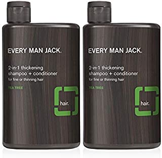 product image for Every Man Jack 2-in-1 Daily Shampoo + Conditioner - | 13.5-ounce Twin Pack - 2 Bottles Included | Naturally Derived, Parabens-free, Pthalate-free, Dye-free, and Certified Cruelty Free (Thickening Tea Tree)