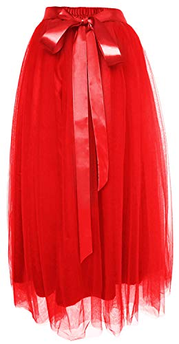 (Dancina Women's Ankle Length Tutu Maxi A-line Long Tulle Skirt Regular (Size 2-18) Red)