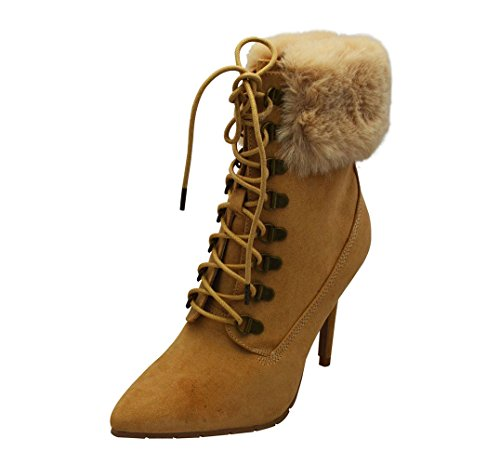 Stiletto Boots Faux Collar Faux Womens Ankle 05 Scorpio Fur Toffee Qupid Suede nxqZYO8Y