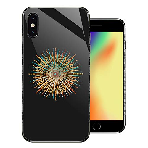iPhone XR Cases Fire and Ice Sun Mandala Stained Glass Geometry Thin Tempered Glass Back Cover [Shock Absorption] Soft TPU Bumper Frame Support Case for iPhone - Glass Stained Ripple