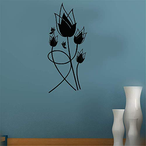 (Removable Vinyl Decal Art Mural Home Decor Wall Stickers Tulipes Rouges for Living Room Bedroom)