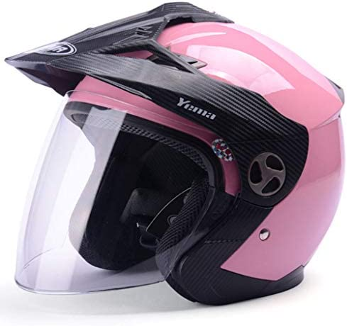 NJ ヘルメット- オフロードバイクヘルメットの男性と女性の四季半分覆われた防曇ヘルメット (色 : Pink leopard, サイズ さいず : 26.5x35cm)