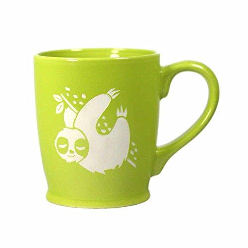SLOTH Coffee Mug - GREEN - 16 oz - Microwave-safe Engraved Stoneware