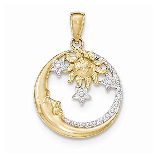 14k Yellow Gold and Rhodium Diamond Cut Moon, Stars, and Sun Pendant ()