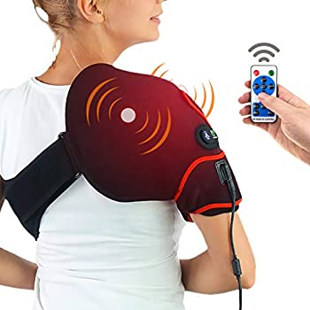 CHEROO Shoulder Heating Pad with Vibration Massager, Auto Shut Off Far Infrared Heated Brace Wrap Support W/Remote Control for Rotator Cuff Joint Tendon Injury Arthritis Pain Relief