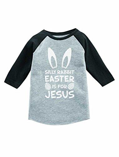Tstars Silly Rabbit Easter is for Jesus Cute 3/4 Sleeve Baseball Jersey Toddler Shirt 5/6 Dark Gray Jesus Toddler Shirt