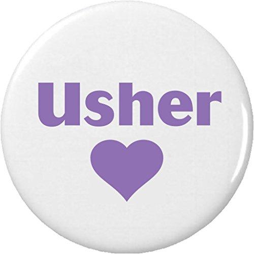 "Usher Purple Heart 2.25"" Large Pinback Button Pin Wedding Bridal Party -"