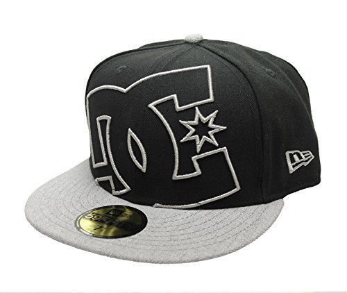 DC Shoes Men's Coverage Fitted 14 New Era 59Fifty Hat Cap Black Gray (7 1/4)