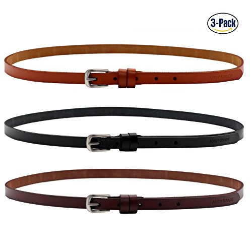 Set of 3 Women's Genuine Cowhide Leather Stylish Thin Dress Belt Fashion Vintage Casual Skinny Belts for Jeans Shorts Pants Summer for Women With Alloy Pin Buckle By ANDY GRADE (Style (Leather Skinny Belt)