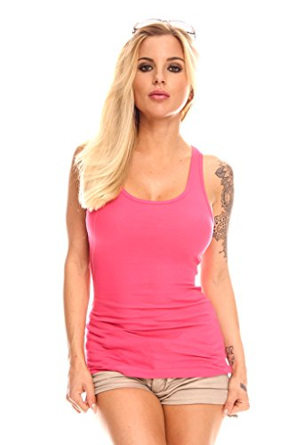 Young Aloud SCOOP NECK RIBBED RACER BACK TANK TO S FUCHSIA