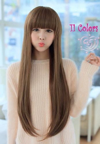X&Y ANGEL Fashionable Long Straight Natural Healthy Wig Wigs MJ006 11 Colors (KB(chocolate brown)) (Costume Direct New Business)