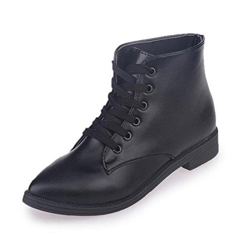 Ein Bißchen Herbst Kurz Fashion Lederschuhe Damen Britische Stil Martin Stiefel schwarz-JD