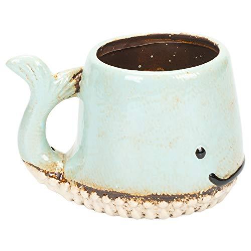Aqua Blue Smiling Whale Shaped 8 Ounce Glazed Stoneware Coffee Mug