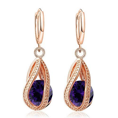 Campton Multicolor 1Pair 18k Gold Plated Cubic Zirconia Charm Long Hoop Earrings | Model ERRNGS - 879 |
