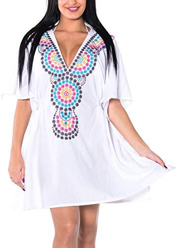Fry And Leela Costumes (LA LEELA Women's Mini Beach Swimwear Cover Up Kimono Dress US 8-16W)