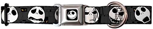 Buckle Down Dog Collar Jack Skellington -Nightmare Before Christmas Jack Expressions Gray - Wide-Small 1.5 x 13-18""