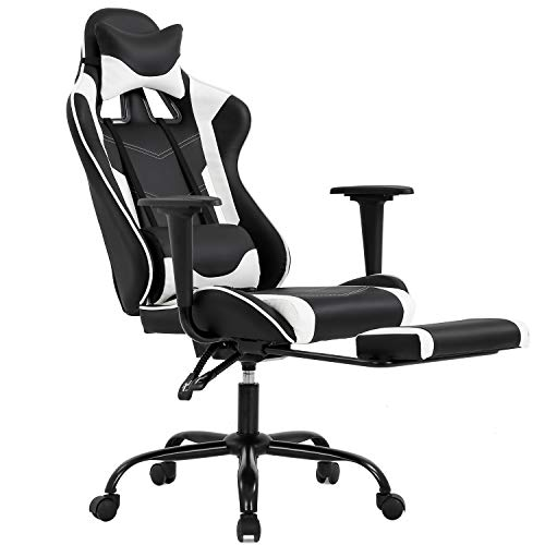 Ergonomic Office Chair PC Gaming Chair Desk Chair Executive PU Leather Computer Chair Lumbar Support with Footrest Modern Task Rolling Swivel Chair for Women, Men(White) (Kids Gaming Chair)