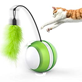 Feltom Cat Interactive Toys Electronic Cat Ball with LED Light and Feather, 360 Degree Automatic Self Rolling Ball Kitten Toys Entertainment Hunting Exercise, Large Capacity Battery