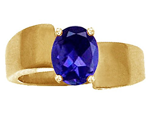 Tommaso Design Oval 9x7mm Genuine Iolite Ring 14 kt Yellow Gold Size 8.5 ()