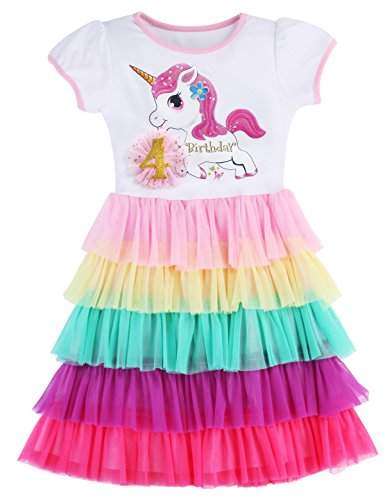 PrinceSasa Elegant Girls Clothes Unicorn Rainbow Party White Cupcake Short Sleeve Summer Dress for Princess Toddler Birthday Outfits Dresses,Birthday4,3-4 Years(Size 110)