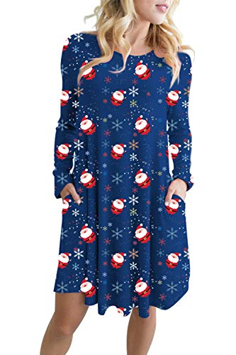LaSuiveur Long Sleeve Cute Ugly Pockets Swing Christmas Sweater Dress Snowman Navy Blue L -