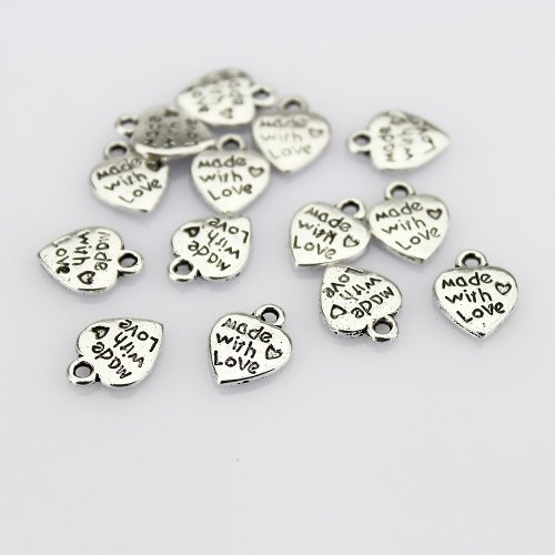 Vintage Antiqued Silver Tone Mini Heart Charm Pendant Stamped MADE WITH LOVE Letter - 50 Pcs