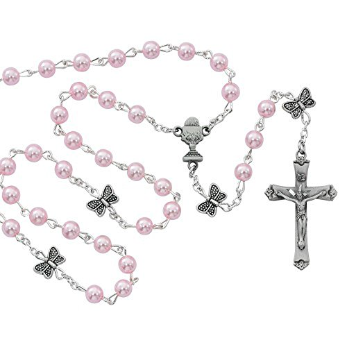 First Communion 5mm Pink Pearl Rosary Beads with Butterfly Our Father Beads. Pewter Crucifix and Center. Includes a White Leatherette Gift Box.