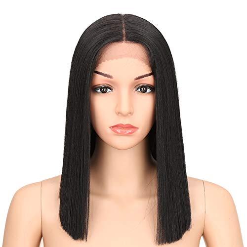 Joedir Lace Front Wigs for Black women Heat Resistant Synthetic Fiber Yaki Straight Bob Wigs Ombre Blue 130% Density wigs(Black)