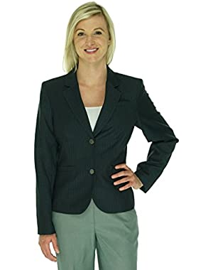 Womens Petites Woven Pinstripe Two-Button Blazer