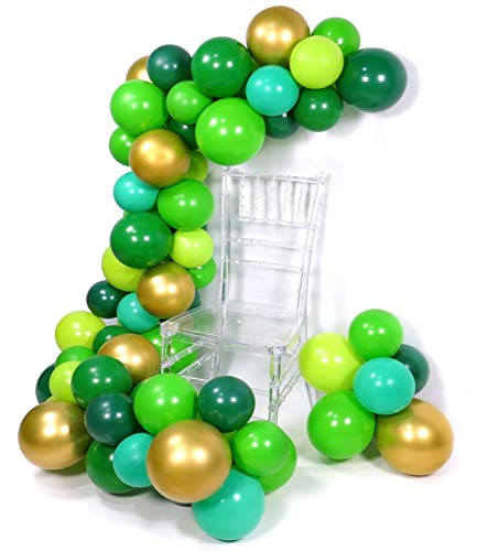 PartyWoo Green Balloons, 70 Pcs 12 Inch Lime Balloons Emerald Green Balloons Lime Green Emerald Green Balloons for Green Party Decorations, Green Birthday Decorations, Reptile Party Decorations -