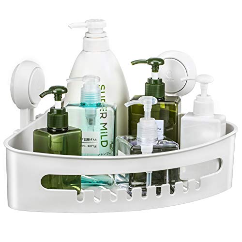 Corner Shower Caddy with Suction Cup Plastic Shower Holder for Shampoo Soap, Removable Wall Mount Bathroom Suction Caddy Corner Adhesive Storage Basket for Bathroom & Kitchen ()