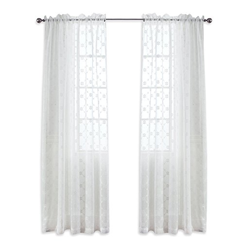 NICETOWN Embroidered Diamond Floral Sheer Curtain Panels Faux Linen Rod Pocket Window Covering for Living Room by, Off White, 55 x 84 Inch, Set of 2 Pieces