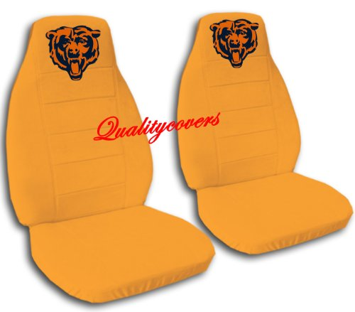 2 Orange Chicago seat covers for a 2007 to 2012 Ford Fusion. Side airbag friendly. by Designcovers