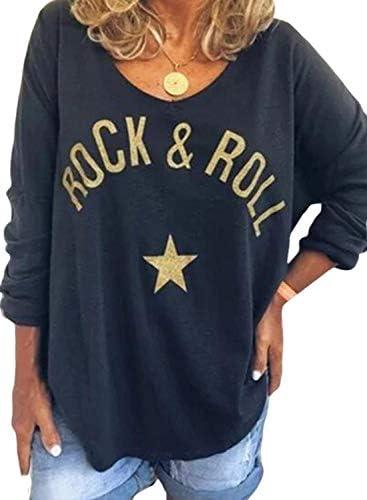 FARYSAYS Women V Neck Letter Print Long Sleeve T-Shirt Sweatshirts Casual Tops