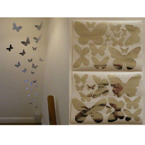 24 Papillon Miroir Stickers muraux sur deux feuilles de format A4