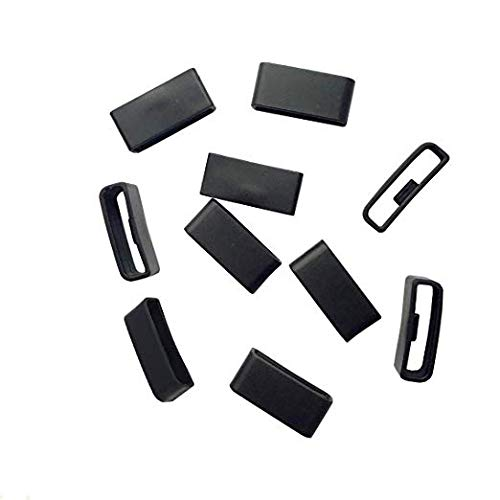 TenCloud 10-Pack for Garmin vivosmart HR/HR+,Approach X40 Replacement Accessories Black Silicone Band Keepers Fastener Secure Loops (10-Pack Fastener Ring)