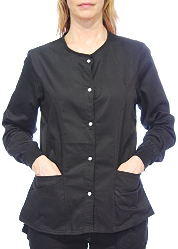Hey Medical Uniforms Simply Smile Stretch Twill Snap-Front Warm-up Jacket(Plus Sizes - Uniforms Hey