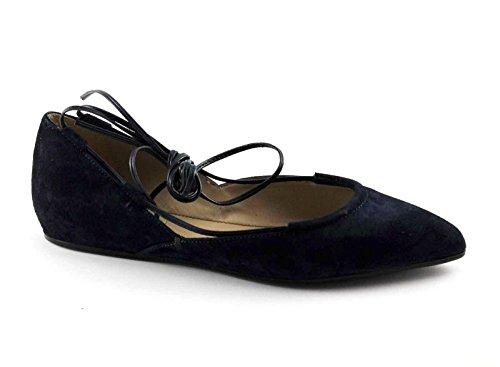 Schiava Ed506 Punta Pelle Laccio Ballerina Donna Cafè Blu Cafènoir Scarpa Noir U0wq1nnxA