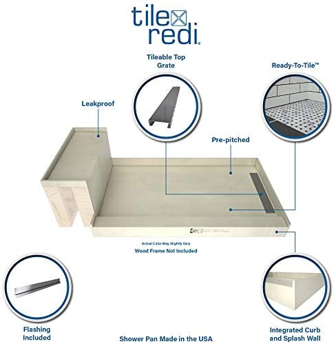 Tile Redi Usa Base N Bench Wf3248l Rb32 Kit Tileable Shower Pan Seat 60 Inches X 32 Inches Tileable Amazon Com