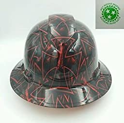 Wet Works Imaging Customized Pyramex Full Brim Red Grim Reaper Hard Hat With Ratcheting Suspension