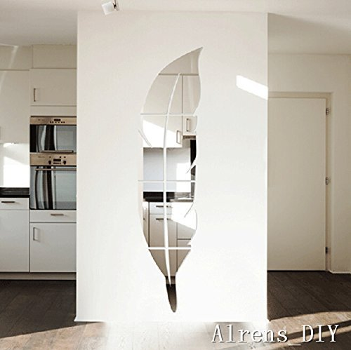 Price comparison product image Alrens_DIY(TM) 6pcs=1 Feather Mirror Surface Crystal Wall Stickers DIY Acrylic 3D Home Decal Living Room Murals Wall Paper Decor adesivo de parede Silver&Gold (Silver)