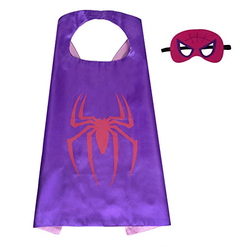 Halloween Superhero Dress Up for Kids, Best Christmas, Birthday Gift, Cosplay Party Cape and Mask Role Play Set, Cartoon Outfit for Boys and Girls (Spidergirl)