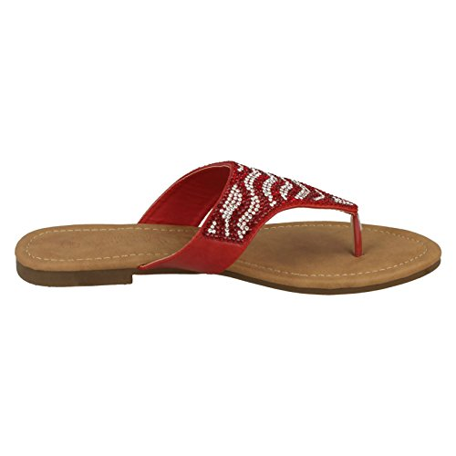 Sandals Diamante Red Savannah Flat Post Ladies Toe q7Ow1Xx0R