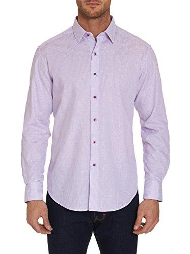 Robert Graham Garden Lake Long Sleeve Printed Woven Sport Shirt Classic Fit Purple XLarge ()