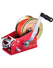 Hand Winch Heavy Duty with Nylon Cable and Ratchet Handle Hook 2 Gear Manual Crank Towing Winch for ATV Boat Trailer Truck Auto