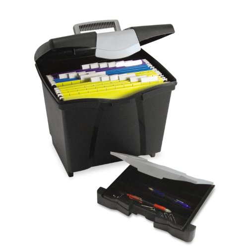 Storex Portable File Storage Box with Drawer, Latch Lid, Letter Size, Black (61523U01C)