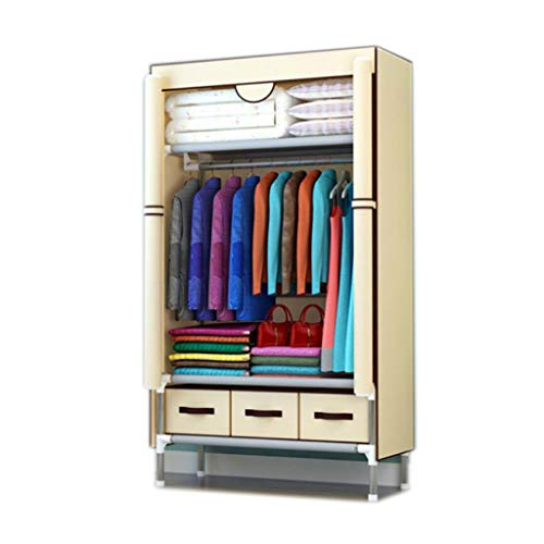 (ALWUD Portable Wardrobe Clothes Storage Organizer, Closet Shelves with Hanging Rod 3 Drawers Left and Right Open Cloth Closet,Yellow_35x67x17.7inch)