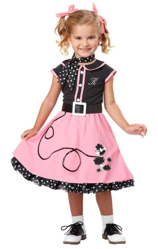 Custom Girls Halloween Costumes (California Costumes 50's Poodle Cutie Toddler Costume, 3-4)